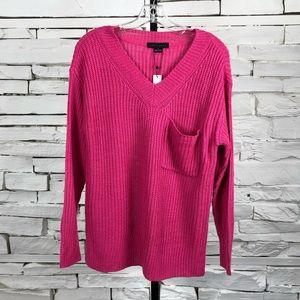 Sanctuary Sweater Front Pocket Hot Pink LS 2078